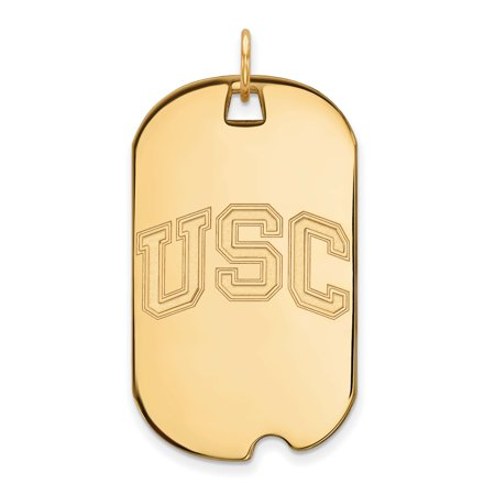 Southern California Trojans USC Letters Dog Tag Pendant in Gold Plated Silver 40x24mm Usc Trojans Gold Plated
