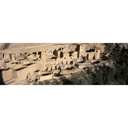 Panoramic view of Cliff Palace cliff dwelling Indian ruin the largest in North America Mesa Verde National Park Southwestern Colorado Stretched Canvas - Panoramic Images (27 x