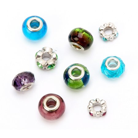 Darice Mix And Mingle Glass Metal Lined Beads Mix 9 Pack Walmartcom
