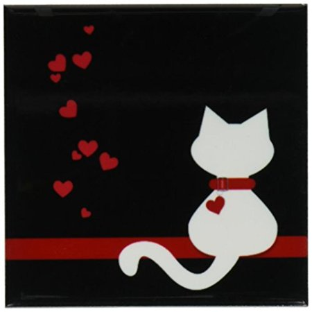 3dRose Pet Lovers Red Hearts White Kitty Cat, Ceramic Tile Coasters, set of 4