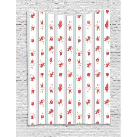 Shabby Chic Decor Tapestry, Vertical Borders Cute Rose Blossoms Cottage Country Home, Wall Hanging for Bedroom Living Room Dorm Decor, 40W X 60L Inches, Baby Blue Dark Coral Green, by (Cottage Chic Decor)