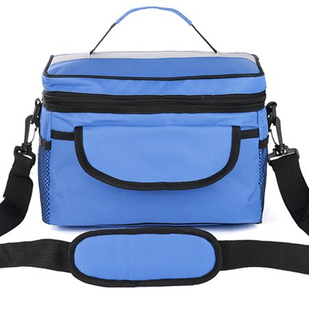8L Waterproof Large Thermal Insulated Lunch Bag Box Tote for Men Women Kid with Adjustable Shoulder Strap with 5 Porckets for Work School Outdoor Picnic Food Storage Bag Blue Green - Large Lunch Box