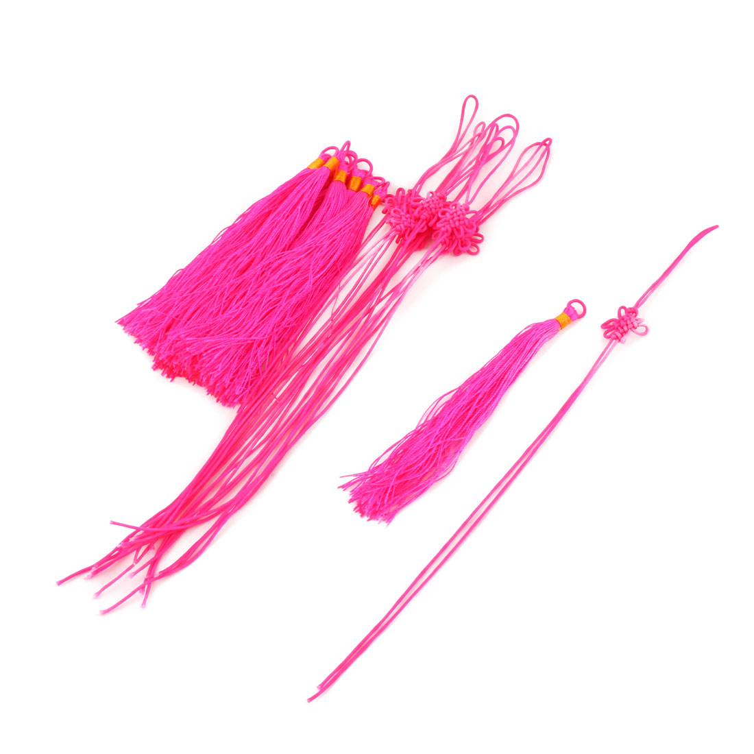 Home Car Nylon Handmade Craft Tassel Hanging Decor Chinese Knot Fuchsia 10 Sets - image 3 of 3