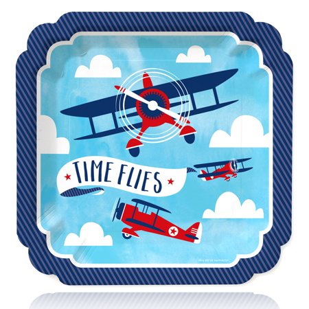 Airplane Themed Birthday Party (Taking Flight - Airplane - Vintage Plane Baby Shower or Birthday Party Dinner Plates (16)