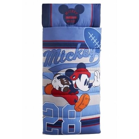Disney Mickey Mouse Sleep Over Slumber Bag Built In Pillow Sports Sleeping
