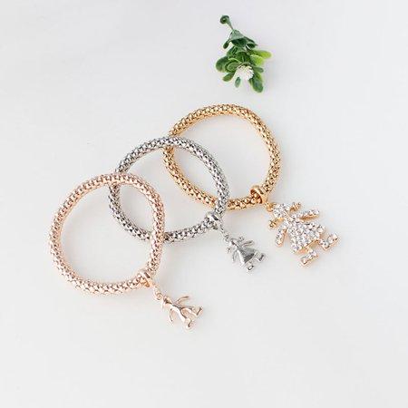 3pcs/set Crystal The little Girl Doll Rhinestone Bracelet & Bangle Elastic Bracelets - image 8 of 8