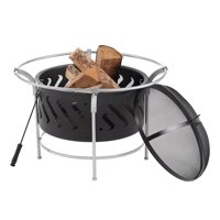 """Mainstays Black 30"""" Steel Fire Bowl with Chrome Legs"""