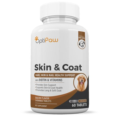 Skin & Coat Health Chewable Tablets For Pets, Dog and Cats by OptiPaw Supports Decreased Shedding and Improved Pet Coat Health