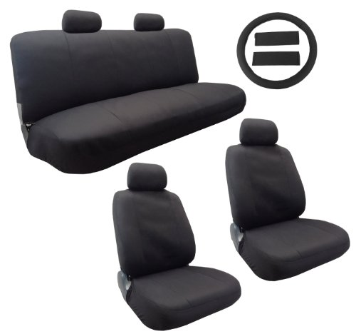 Classic Cloth Polyester Seat Cover Set Solid Black 13pc Set Front Pair  Bench Steering Wheel Cover