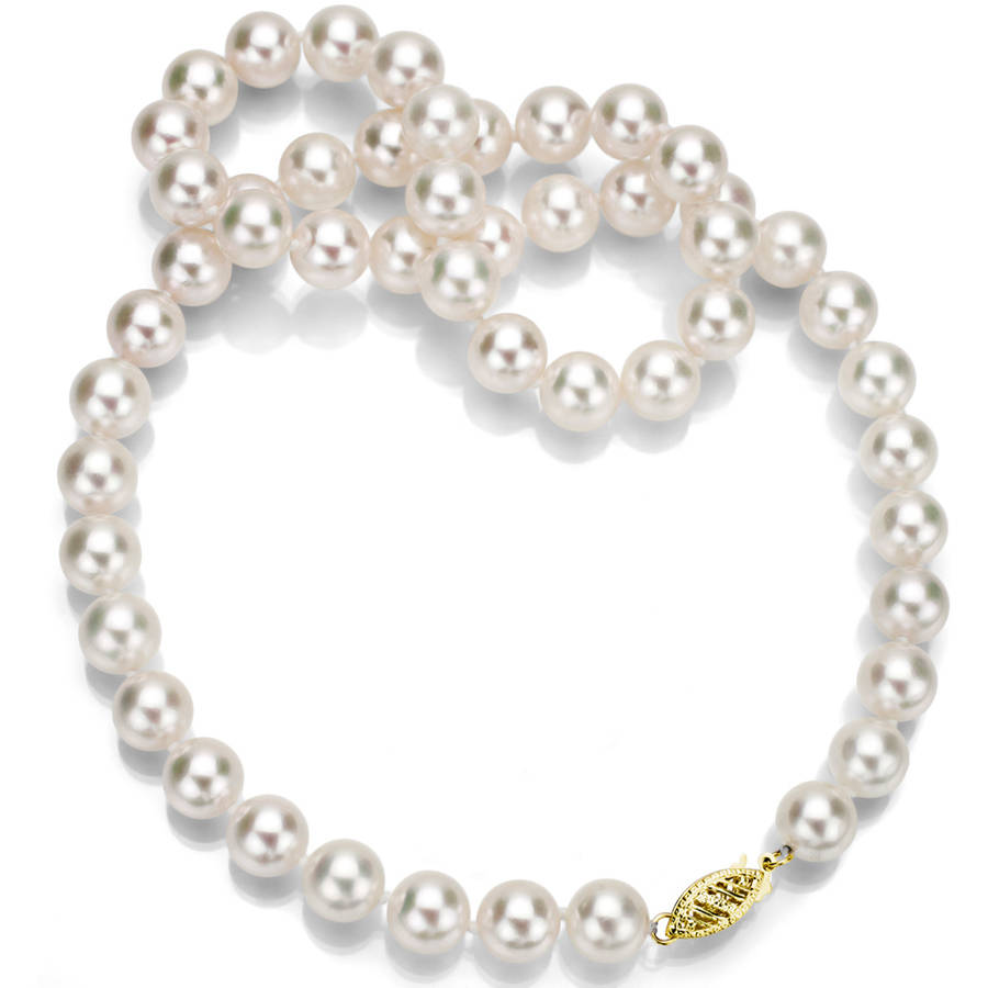 "8.5-9mm White Perfect Round Akoya Pearl 16"" Necklace with 14kt Yellow Gold Clasp by Generic"