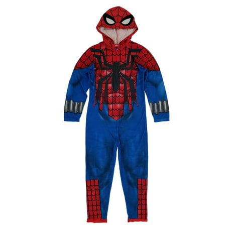 Spider-Man Marvel Mens Costume Union Suit Hooded Pajamas Medium](Spiderman Mens Onesie)