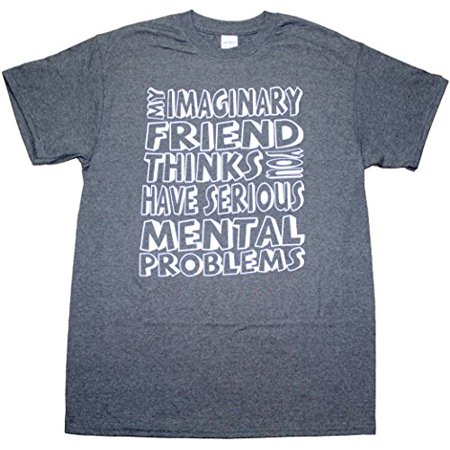 My Imaginary Friend Thinks You Have Serious Problems Funny Mens Adult T-shirt Heather Black (X-Large)