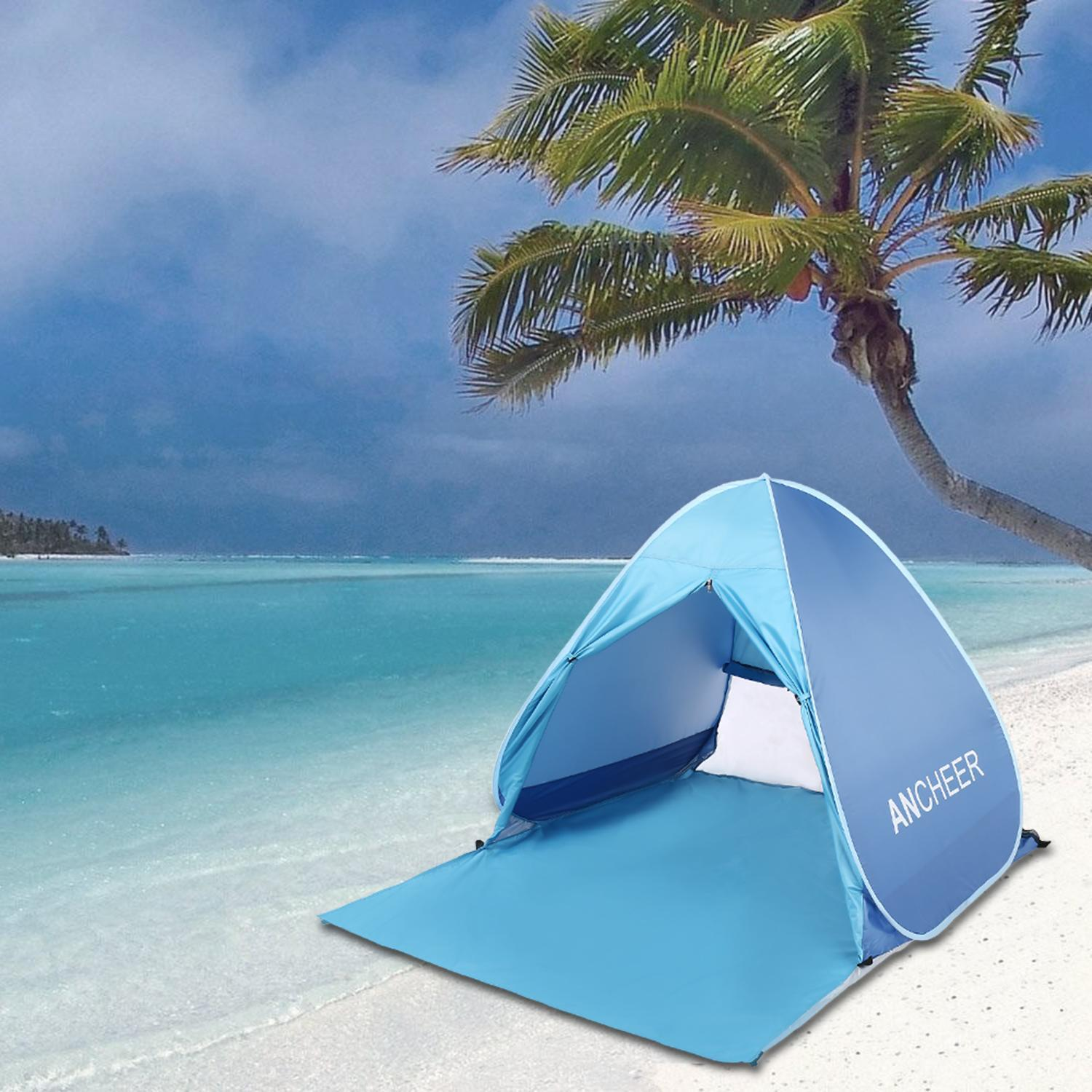 Outdoors Portable Beach Tent Sun Shelter Automatic Pop Up Tent Instant Quick Beach Tent Sun Shelter AMZSE by