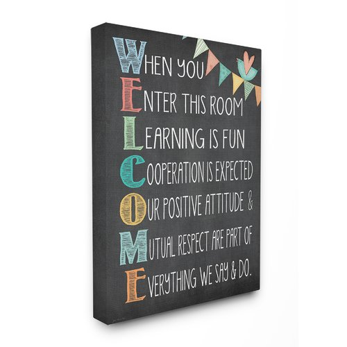 Stupell Industries Welcome Acrostic Rainbow Chalk Canvas Wall Art