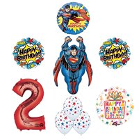 Superman Superhero 2nd Birthday Party Supplies and Balloon Decorations