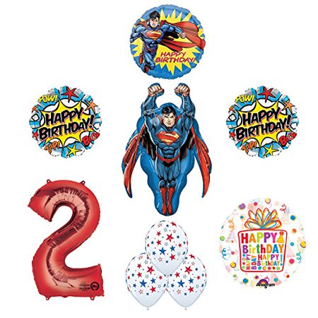 Superman Superhero 2nd Birthday Party Supplies and Balloon Decorations (Superman Party Decorations)