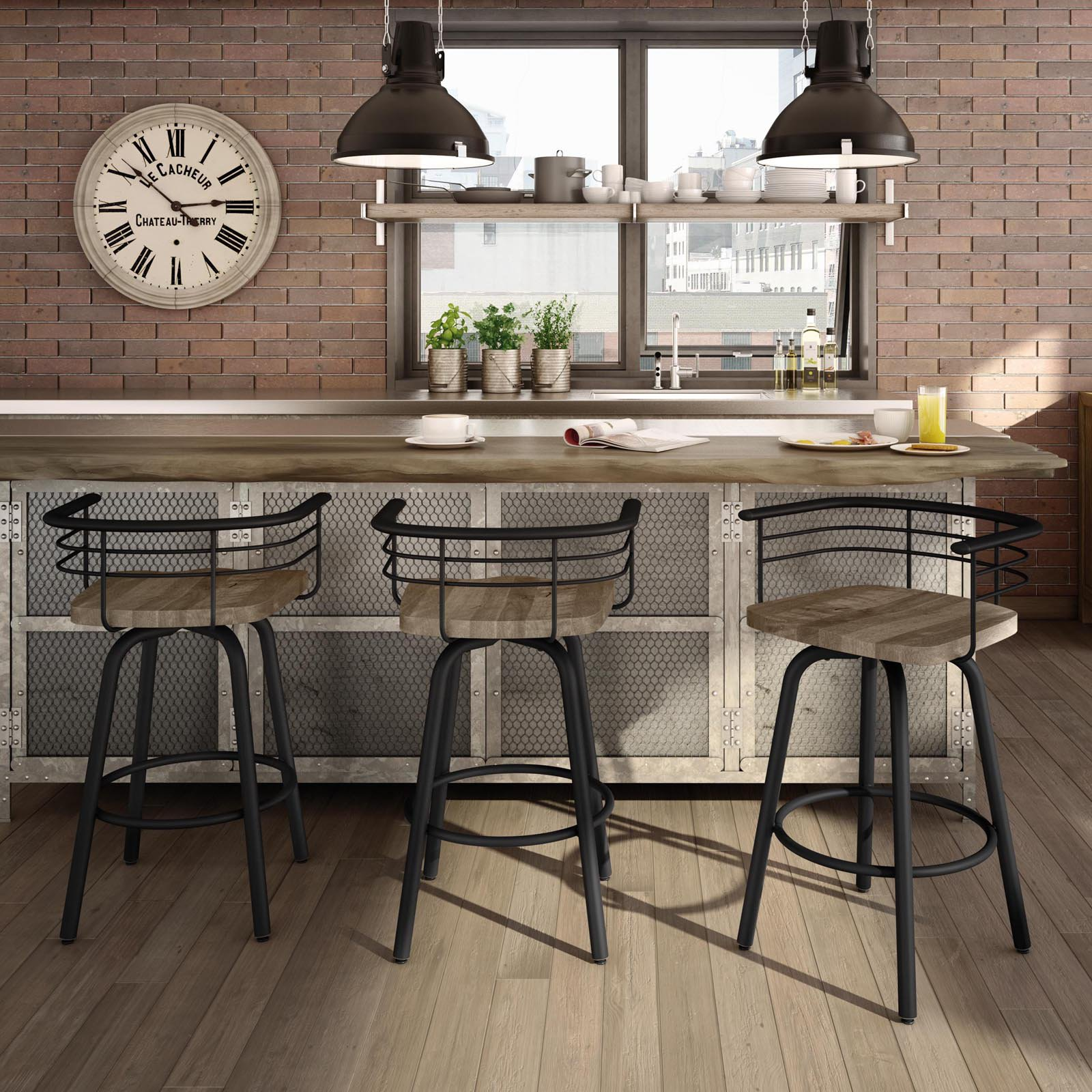 Amisco Brisk 26 in. Swivel Counter Stool