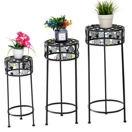 Gymax 3 Piece Metal Flower Pot Rack Plant Display Stand Shelf Holder Garden Ceramic Beads (Ceramic Elephant Plant Stand)