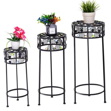 Gymax 3 Piece Metal Flower Pot Rack Plant Display Stand