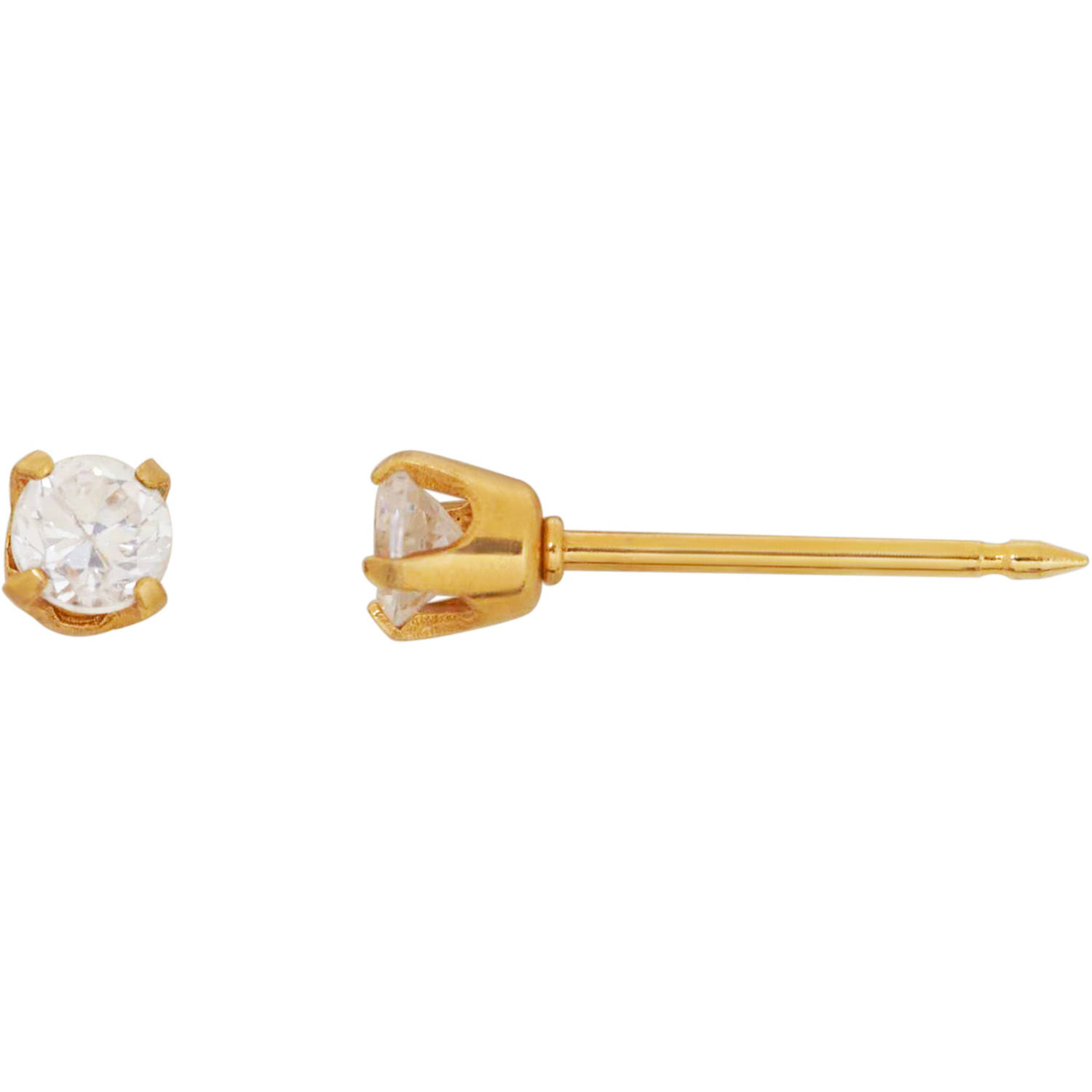 Home Ear Piercing Kit with 14kt Yellow Gold 3mm CZ Earring