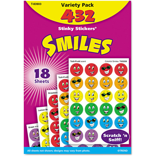 TREND Stinky Stickers Variety Pack, Smiles, 432pk
