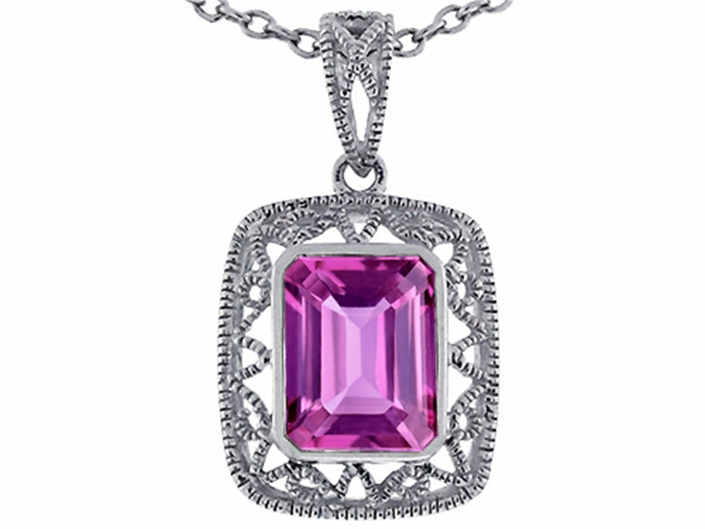 Star K Emerald Cut Simulated Pink Tourmaline Pendant Necklace in 14 kt White Gold by