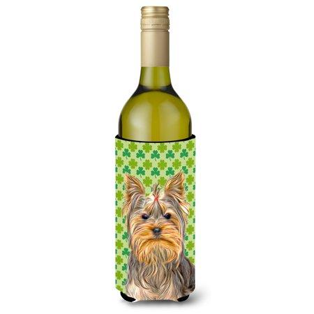 St. Patrick's Day Shamrock Yorkie / Yorkshire Terrier Wine Bottle Beverage Insulator Hugger KJ1198LITERK