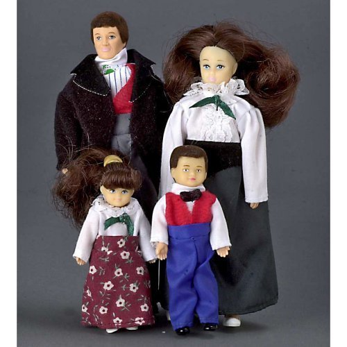 Victorian Brunette Doll Family of 4 Dollhouse Miniature Set