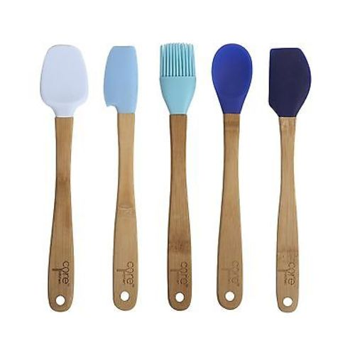 "Core Kitchen 8.25"" 5pc Silicone Mini Utensil Set with Bamboo Handles - Blues"