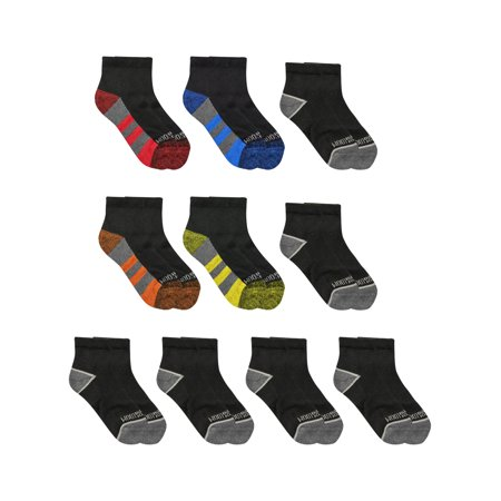 Fruit of the Loom Boys Zone Cushion Ankle Socks 10 Pack, Black Assorted, M ()