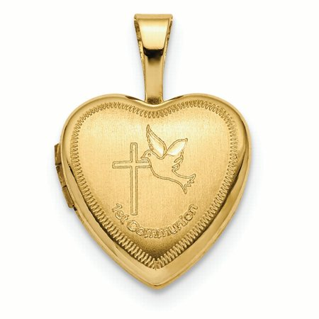14K Yellow Gold 1st Communion, Dove Cross Heart Locket Charm Pendant 14k Gold Communion Charm