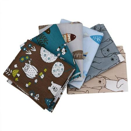 Kritne DIY Cloth,Printed Cloth,50x40cm 6Pcs Cute Cartoon Bear Fish Pattern Printed Cotton Fabric Assorted Cloth DIY Material