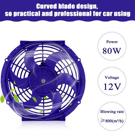 (2 Pcs 10 Inch Curved Blade Car Push Pull Electric Radiator Cooling Fan)