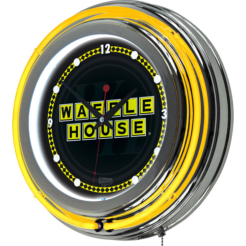 Waffle House Wordmark Chrome Double Ring Neon Clock