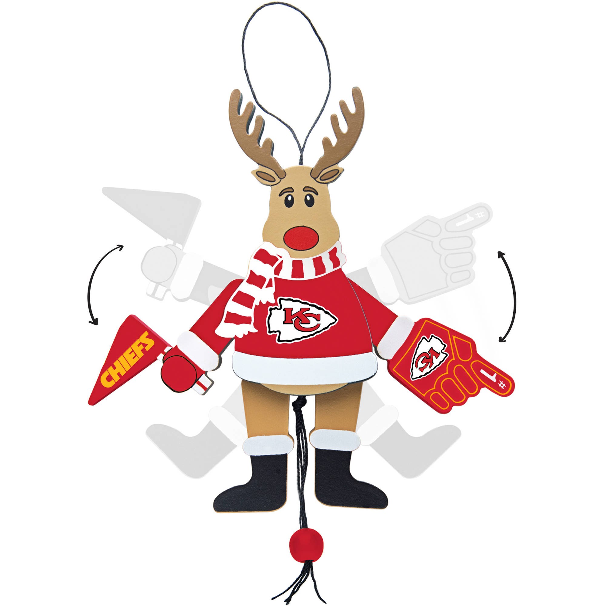 Topperscot by Boelter Brands NFL Wooden Cheering Reindeer Ornament, Kansas City Chiefs