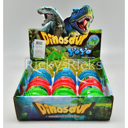12 Light Up Dinosaur Yo-Yo's T-Rex Party Bag Fillers Favors Flashing Toys Dinosaurio - Dinosaur Party Games