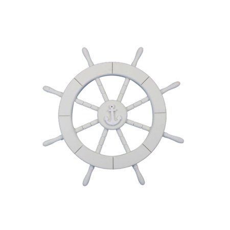 White Ship Wheel with Anchor 18