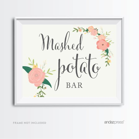 Mashed Potato Bar Floral Roses Wedding Party Signs