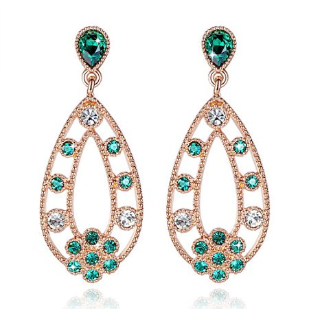 Leafael Vintage Bohemian Earrings Made with Swarovski Crystals Emerald Green 14K Rose Gold Plated Filigree Teardrop Jewelry, Nickel/Lead Free, Gift Box, Endorsed by Miss New York (Jewelry Box Swarovski Crystal Frog)