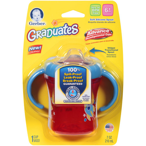 Gerber Graduates Advance with Seal Zone 2 Handle Trainer Spout Sippy Cup, 7-Ounce, Colors and Designs May 1 ea