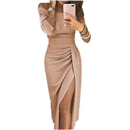 Womens Long Sleeve Solid Color Split Dress One Shoulder Shiny Evening Party Club Bodycon Long Dress ()