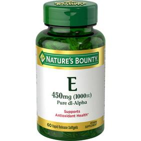 Nature Made Vitamin E 450 Mg 1000 Iu Dl Alpha Softgels 60 Count For Antioxidant Support Walmart Com Walmart Com