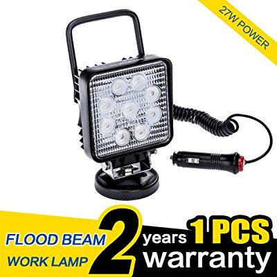12v Ac Magnetic Led (wowled portable 27w led work light flood light with magnetic base truck car camping lamp 4x4 12v 24v )