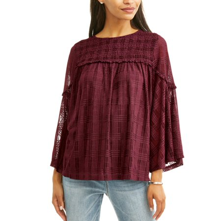 - Women's Printed Lace Peasant Top