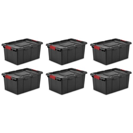 6) Sterilite 14649006 15-Gallon Durable Rugged Industrial Tote Red Latches -