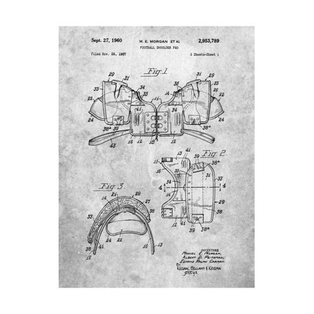 Football Shoulder Pads Patent Print Wall Art By Cole Borders](Homemade Football Pads For Halloween)