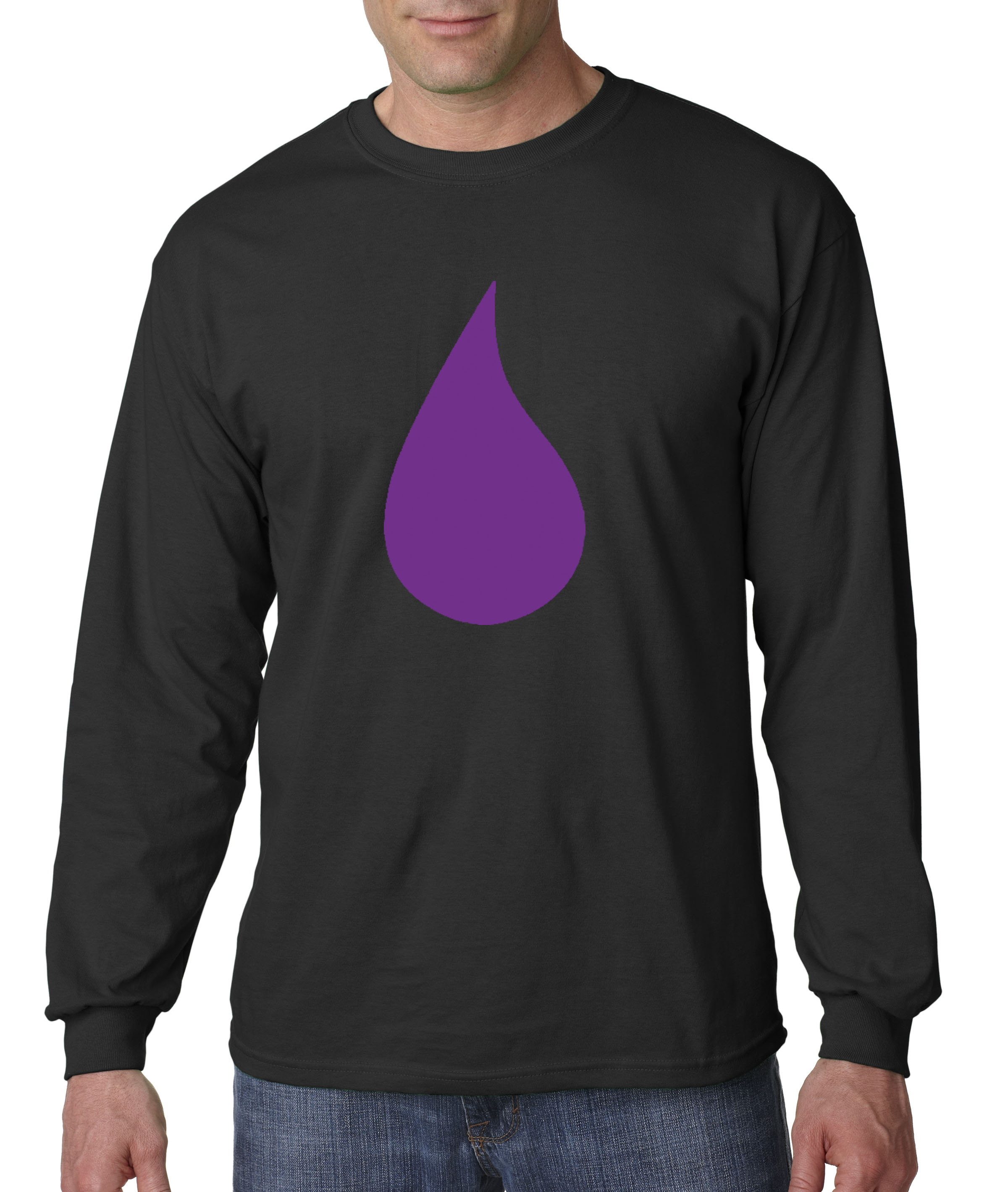 b2e82f96e 455 - Unisex Long-Sleeve T-Shirt Prince Purple Tear Rain Drop Peace Love Rip