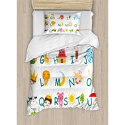 Educational Twin Size Duvet Cover Set, Cute Kids Alphabet with Fruits Animals Prince Princess Cheerful Colorful Design, Decorative 2 Piece Bedding Set with 1 Pillow Sham, Multicolor, by Ambesonne