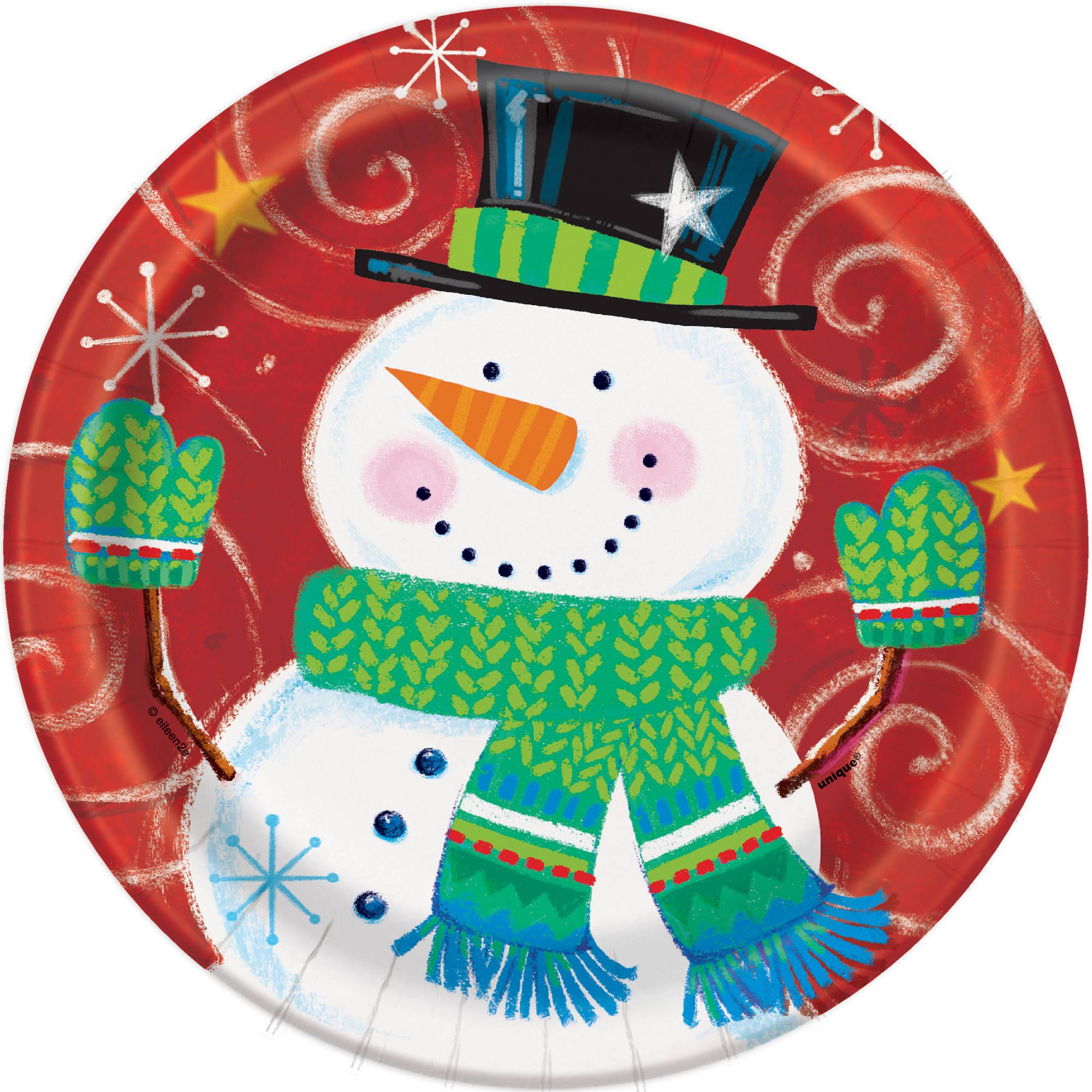 "7"" Snowman Swirl Holiday Paper Dessert Plates, 8ct"