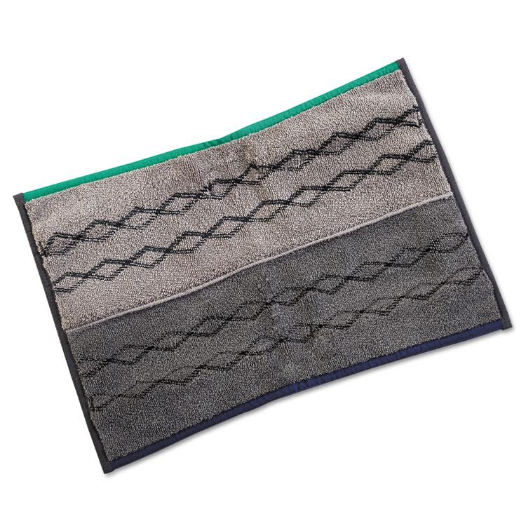 Pulse Executive Double-Sided Microfiber Flat Mop Head, 17 X 12, Dark Gray, 6/ct